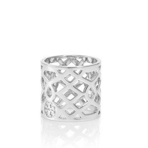 TORY BURCH Silver Lace Perforated Logo Ring